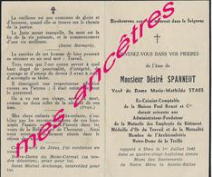 1942 Lille-Désiré SPANNEUT-Maison Paul Rouzé-mutuelle Emplyés Bâtiments-archiconfrérie Notre Dame De La Treille-ep STAES - Décès