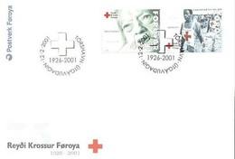 Føroyar 2001; FDC Michel 391-392, Red Cross. - Faroe Islands