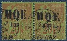 France Colonies Martinique N°2d Paire Oblitérée Surcharge Grand MQE Tenant à Petit Mqe  R Signé Miro & Pigeron - Martinique (1886-1947)