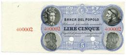 5 LIRE SPECIMEN CON MATRICE BANCA DEL POPOLO FIRENZE 07/12/1871 FDS - [ 8] Falsi & Saggi
