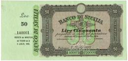 50 LIRE SPECIMEN MATRICE BANCO DI SICILIA BIGLIETTO AL PORTATORE 05/07/1892 SPL+ - [ 1] …-1946 : Kingdom