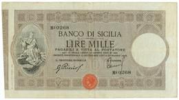 1000 LIRE BANCO DI SICILIA BIGLIETTO AL PORTATORE 30/05/1919 BB - [ 1] …-1946 : Kingdom