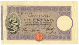 50 LIRE BANCO DI SICILIA BIGLIETTO AL PORTATORE PRIMA DATA 27/04/1897 BB+ - [ 1] …-1946 : Kingdom
