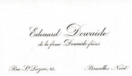 Edouard DEWAIDE , Firme DEWAIDE Freres Bruxelles - Cartes De Visite