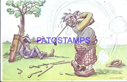 115586 ARGENTINA ART ARTE SIGNED HUGO MARTIN HUMOR TRYING TO PLAY GOLF BREAK POSTAL POSTCARD - Argentina