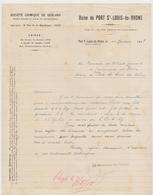 Ancienne Lettre à Entête Société Chimique De Gerland Lyon - Usine De Port-Saint-Louis-du-Rhône 1918 - France