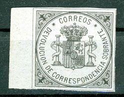 1875, MNH**, SIN FIJASELLOS, SELLO DEVOLUCION CON BORDE DE HOJA. LUJO - Nuevos