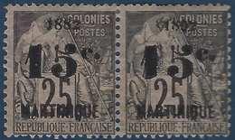 France Colonies Martinique N°30b* Paire Avec La Variété 1882 Tenant à 1992 RR Signé Laroze - Martinique (1886-1947)