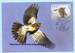 PORTUGAL - AZORES AÇORES EUROPA CEPT NATIONAL BIRDS Turcus Pilaris MAXIMUM CARD - Maximumkaarten