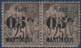 France Colonies Martinique N°29c* Paire Avec La Variété 1882 Tenant à 1992 RR - Martinique (1886-1947)