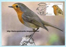 PORTUGAL - EUROPA CEPT NATIONAL BIRDS Erithacus Rubecula OISEAUX MAXIMUM CARD - Maximumkaarten