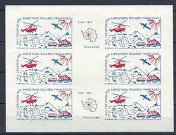 Feuillet De 6 Vignettes Création Des Expéditions Polaires Françaises 1947 / 1977 De Toulouse - Events & Commemorations