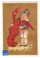 Jolie Chromo Dorée Chocolat Besnier Loup De Mer Homard écrevisse Enfant Bretagne Lobster Victorian Trade Card A18-12 - Chocolate
