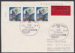 Mi-Nr. 2122, Portogerechte MeF Mit 3 Werten Auf Eilbotenkarte Mit Ankunft - DDR