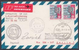 """Mi-Nr. 2223, MeF Mit 2 Werten Auf Luftpostkarte Nach Pakistan, Ankunft, Fähr-Stempel """"Sassnitz- Trelleborg"""", 1977 - DDR"""