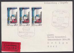 Mi-Nr. 2327, Portogerechte MeF Mit 3 Werten Auf Eilbotenkarte Mit Ankunft - DDR
