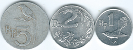 Indonesia - 1970 - 1, 2 & 5 Rupiah (KMs 20-22) - Indonesië