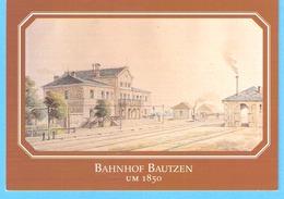 Bautzen (Sachsen-Saxe)- Bahnhof Um 1850-Gare-Station-Aquarell Von G.Täubert-Stadtmuseum Bautzen-Rare - Bautzen