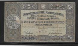 Suisse - 5 Francs 1919 - Pick N°11d - TB - Suiza