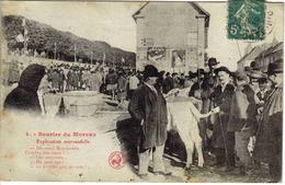 21 Saulieu Marché Aux Veaux Devant Le Bâtiment Du Poids Public Bureau De L'Octroi 1919 PUB Byrrh Sourire Du Morvan N°4 - Saulieu