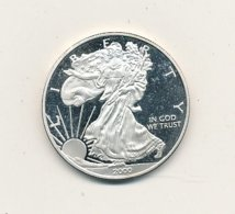 Médaille Argent LIBERTY 2000 Signé W - JM   40 Mm 28,80 Gr   USA   VOIR SCANS - Etats-Unis