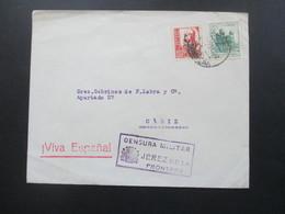 Spanien Bürgerkrieg 1937 Viva Espanal. Censura Militar Jerez De La Frontera. Nach Cadiz Militärzensur - Marcas De Censura Nacional
