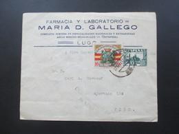 Spanien Bürgerkrieg 1937 Marke Pro Paro Obrero Censura Militar Lugo. Nach Vigo Militärzensur - Nationalistische Zensur