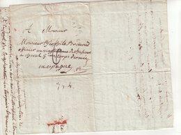 """FRANCE : MP . """" 16 SAINTES """" POUR UN OFFICIER DU 5 ème CORPS D'ARMEE D'ESPAGNE . 1809 . - Marcophilie (Lettres)"""