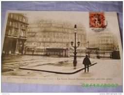 75 PARIS LES INNONDATIONS DE PARIS 1910 LA GARE SAINT LAZARE ENVAHIE PAR LES EAUX - Arrondissement: 13