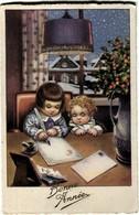 Cpa Fantaisie Bonne Année Illustration Enfants-Neige - Anno Nuovo