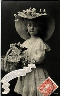 Cpa Fantaisie Bonne Année 2260/6 Fillette-Chapeau-Fleurs - Nouvel An