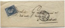 LSC 1862 Cercle De Points Ref 3308 Sur N°14A Et Dateur Ref 1366 - Storia Postale