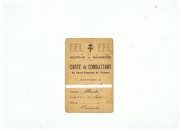 F. F. I.  SECTEUR DE MAUBEUGE (NORD) CARTE De COMBATTANT DES FORCES FRANCAISES DE L'INTERIEUR 1944 - 1939-45