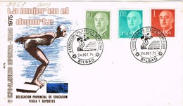 33400. Carta Exposicion BILBAO 1975. Filatelica Deportiva. Natacion - 1931-Hoy: 2ª República - ... Juan Carlos I