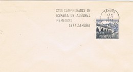 33402. Carta ZAMORA 1977. Rodillo XVIII Campeonato España AJEDREZ Femenino - 1931-Hoy: 2ª República - ... Juan Carlos I