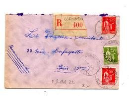 Lettre Recommandee Cornimont Sur Paix - Marcophilie (Lettres)