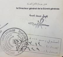LNPC - Lebanon 1988 Very Rare Handstamp 5000L Passport Revenue Stamp (out Of Stock From Civil War) - Líbano