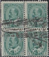 Canada 1903 Used Sc 89 1c Edward VII Block Of 4 - 1903-1908 Règne De Edward VII