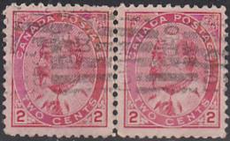 Canada 1903 Used Sc 90 2c Edward VII Horizontal Pair Roller Cancel - 1903-1908 Règne De Edward VII