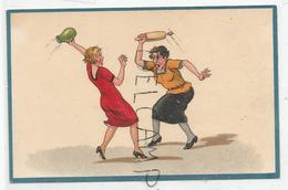 Deux Femmes Se Disputent. Cruche Contre Rouleau à Pâtisserie. - Humour