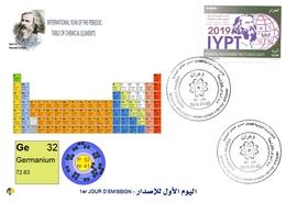 DZ Algeria 1836 2019 Anno Internazionale Della Tavola Periodica Elementi Chimici Dmitry Mendeleev Chimica Germanio - Química
