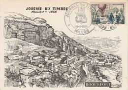 France Carte Maximum  Yvert  1018 Ballon Journée Du Timbre Millau Aveyron 19/3/1955 Illustration Locale De Bastard - Cartes-Maximum