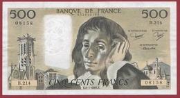 """500 Francs """"Pascal"""" Du 05/07/1984.K ----F/TTB+-----ALPH B.214---COUPURE A 8H45 - 1962-1997 ''Francs''"""