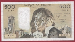 """500 Francs """"Pascal"""" Du 05/07/1990.G ----XF/SUP-----ALPH R.319---AUCUN TROU D EPINGLE BEAU BILLET - 500 F 1968-1993 ''Pascal''"""