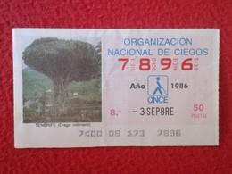 CUPÓN DE LA ONCE SPANISH LOTTERY CIEGOS SPAIN LOTERÍA BLIND ESPAÑA LOTERIE 1986 TREE EL DRAGO MILENARIO ÁRBOL TENERIFE - Billetes De Lotería