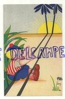 Petit Garçon à La Plage. Soleil, Palmiers. Signée Ben - Illustrateurs & Photographes