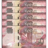 TWN - KENYA NEW - 50 Shillings 2019 DEALERS LOT X 5 - Prefix AA UNC - Kenia
