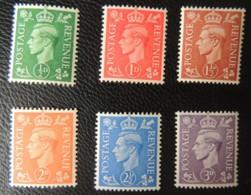 GREAT BRITAIN KGVI 1941-42 LIGHT COLOURS FULL SET (6 VALUES) SG485-490 USED GB - Unused Stamps