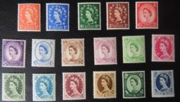 GREAT BRITAIN QEII 1952-54 WILDINGS TUDOR CROWN MOUNTED MINT SG515-531 17 VALUES GB - 1952-.... (Elizabeth II)