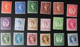 GREAT BRITAIN QEII 1955-58 WILDINGS ST EDWARDS CROWN MOUNTED MINT SG540-556 18 VALUES GB - 1952-.... (Elizabeth II)